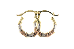 9CT 3 COLOUR GOLD CREOLE EARRINGS