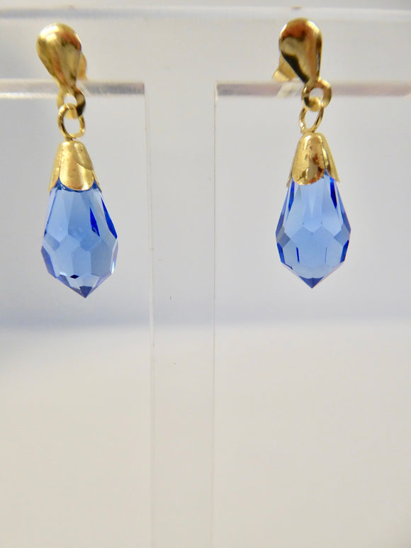 9CT GOLD BLUE CRYSTAL EARRINGS