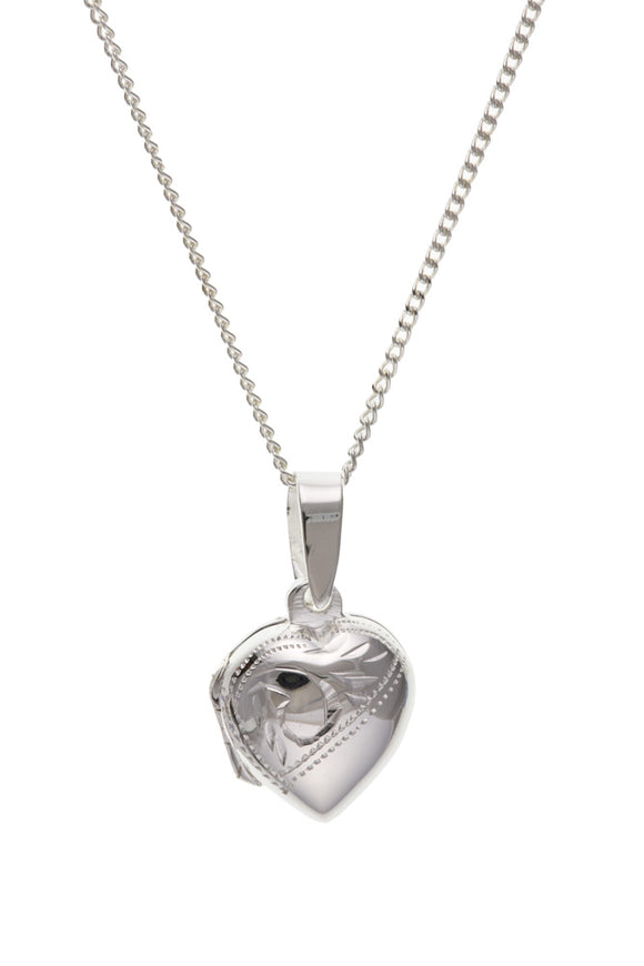 STERLING SILVER ENGRAVED HEART LOCKET & CHAIN