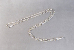 STERLING SILVER ROUND BELCHER ALBERT WATCH CHAIN 28""