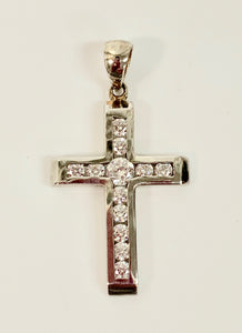 9CT WHITE GOLD CROSS STONE SET
