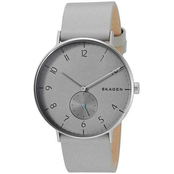 SKAGEN MEN'S AAREN GREY WATCH WITH GREY LEATHER STRAP