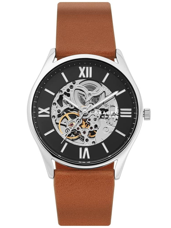 SKAGEN MEN'S HOLST AUTOMATIC BLACK AND SKELETON DIAL WATCH WITH BROWN LEATHER STRAP