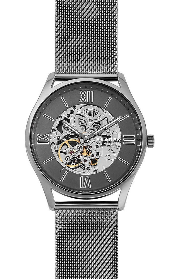 SKAGEN MEN'S HOLST AUTOMATIC GREY AND SKELETON DIAL WATCH WITH MESH BRACELET