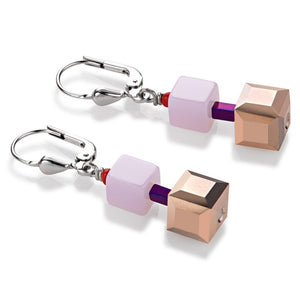 COEUR DE LION BRONZE & PINK CUBE DROP EARRINGS
