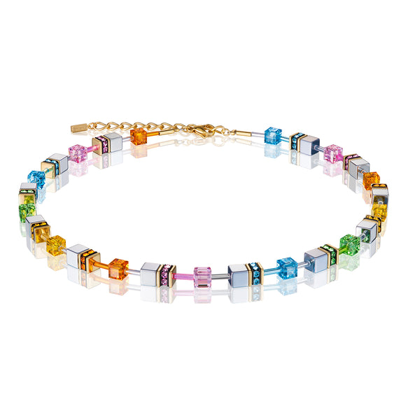 COEUR DE LION HAEMATITE & MULTICOLOUR GEOCUBE NECKLACE