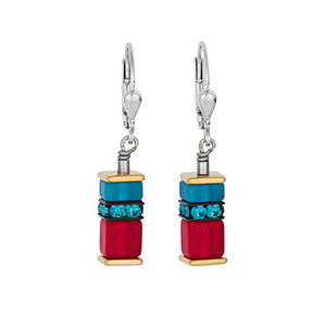 COEUR DE LION RED & TURQUOISE GEOCUBE EARRINGS