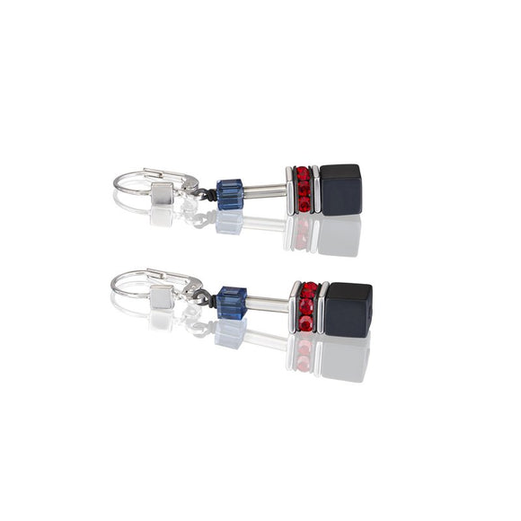 COUER DE LION  BLUE, RED & BLACK EARRINGS