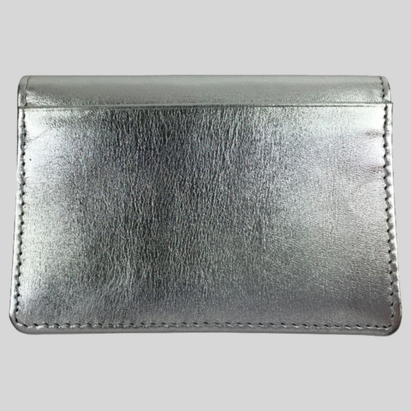 BYRON & BROWN METALLIC LEATHER TRAVEL CARD HOLDER