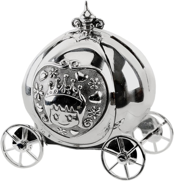 BAMBINO SILVER PLATE CINDERELLA COACH MONEY BOX