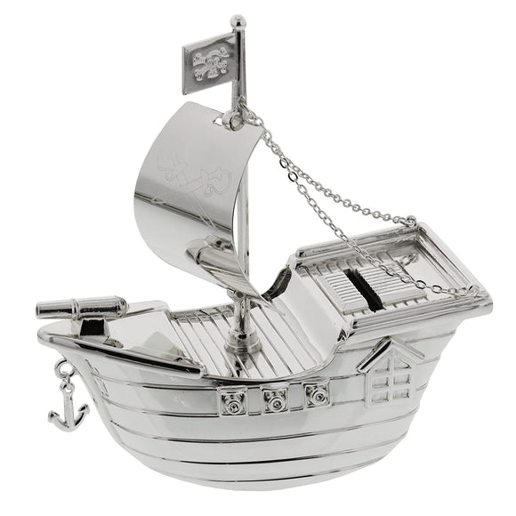 BAMBINO SILVER PLATE PIRATE SHIP MONEY BOX