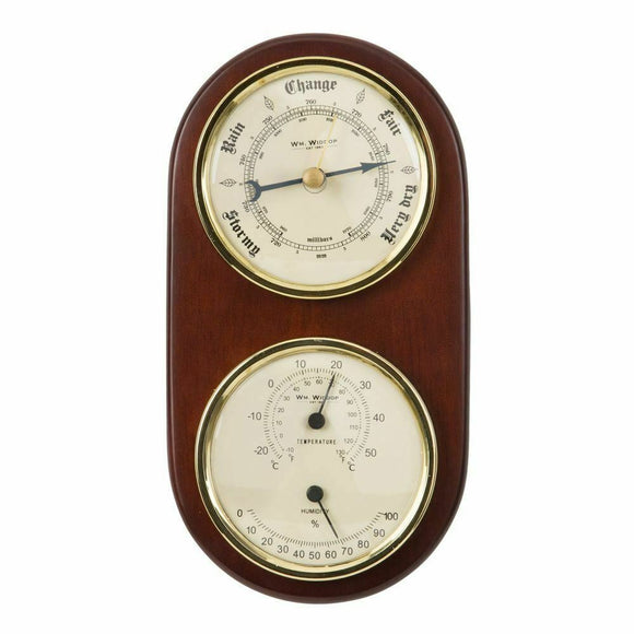 WIDDOP BAROMETER THERMOMETER HYGROMETER ON DARK WOOD MOUNT