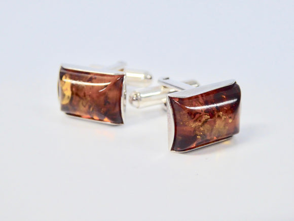 SILVER AMBER OBLONG PLAIN EDGE CUFFLINKS