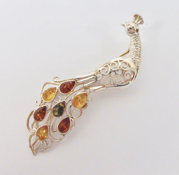 SILVER AMBER 3 COLOUR PEACOCK BROOCH
