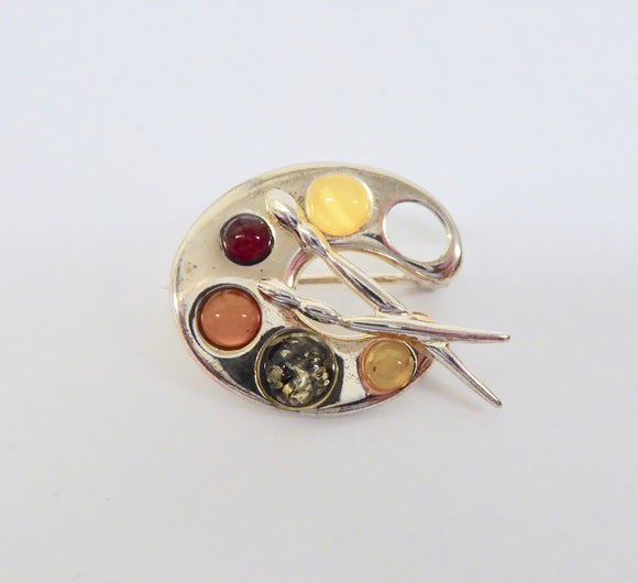 SILVER AMBER 3 COLOUR PAINT PALLETTE BROOCH