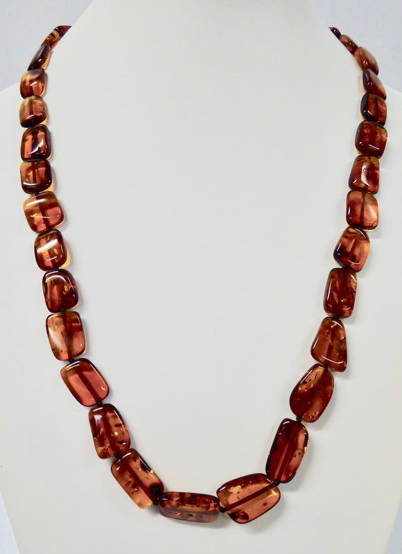 AMBER SQUARE & OBLONG FLAT BEAD NECKLACE