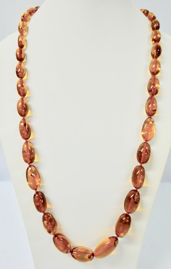 AMBER MEDIUM OVAL GRADUATED BEAD NECKLACE