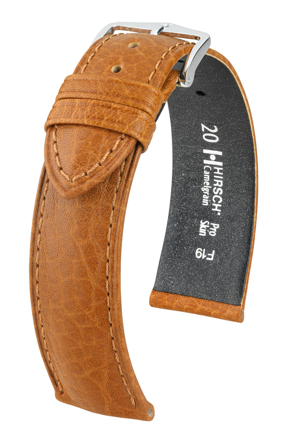 HIRSCH LEATHER CAMELGRAIN STRAP MEDIUM
