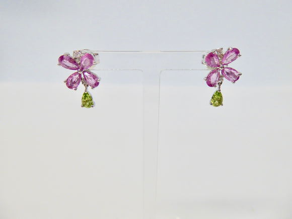18CT WHITE GOLD, PINK SAPPHIRE, PERIDOT & DIAMOND EARRINGS