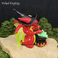 Baiset - Hand Sculpted Polymer Clay Witch Dragon with Bubbling Cauldron - Wicked Winglings
