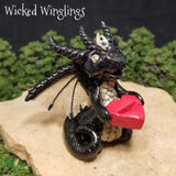 Renman - Hand Sculpted Polymer Clay Ring Holder Dragon - RING NOT INCLUDED - Wicked Winglings