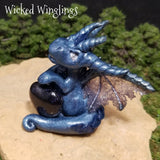 Anbizio - Hand Sculpted Polymer Clay Dragon with Blue Goldstone Heart - Wicked Winglings