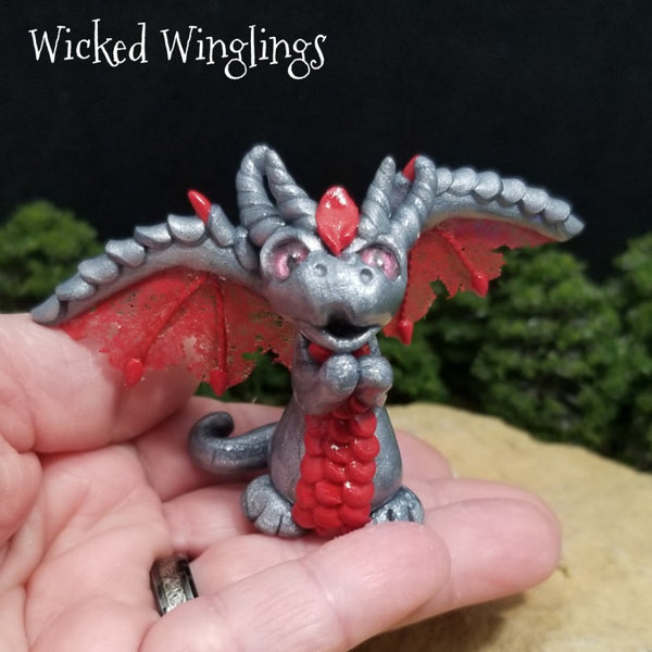 Ekses - Hand Sculpted Polymer Clay Dragon - Wicked Winglings