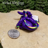 Zauri - Hand Sculpted Polymer Clay Minling Dragon with Book - Wicked Winglings