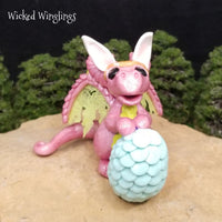 Kianor - Hand Sculpted Polymer Clay Dragon with Egg - Wicked Winglings