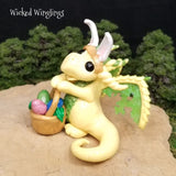 Kars - Hand Sculpted Polymer Clay Dragon with Basket of Eggs - Wicked Winglings