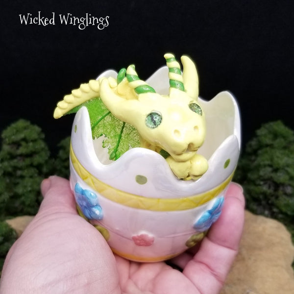 RESERVED FOR FRANK C. Pasen - Hand Sculpted Polymer Clay Easter Egg Dragon - Wicked Winglings