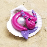 Kegan - Hand Sculpted Hatchling Polymer Clay Sea Dragon with Pearl - Wicked Winglings