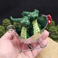 RESERVED FOR ELIZABETH J  - Marell and Kadell - Hand Sculpted Polymer Clay Dragons in Sleigh - Wicked Winglings