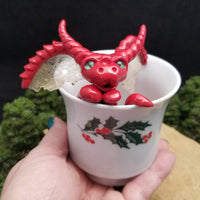 Keretta - Hand Sculpted Polymer Clay Dragons in Coffee Cup - Wicked Winglings