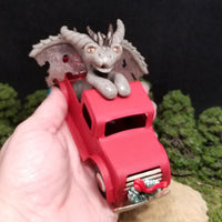 Dagard - Hand Sculpted Polymer Clay Dragon in Red Truck - Wicked Winglings
