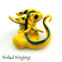Talin - Hand Sculpted Polymer Clay Dragon with Shattuckite - Wicked Winglings