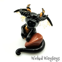 Rawler - Hand Sculpted Polymer Clay Dragon with Red Goldstone ~ Reiki Infused - Wicked Winglings