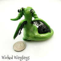 Touke - Hand Sculpted Polymer Clay Dragon with Green Goldstone