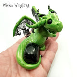 Touke - Hand Sculpted Polymer Clay Dragon with Green Goldstone - Wicked Winglings