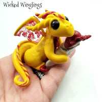 Hazlin & Etlin - Hand Sculpted Polymer Clay Dragon with Baby