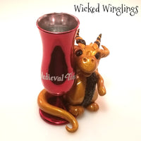 Akmir - Hand Sculpted Polymer Clay Dragon with Medieval Times Chalice