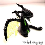 Hand Sculpted Polymer Clay Venom Dragon - Wicked Winglings