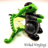 Hand Sculpted Polymer Clay Frankenstein Dragon - Wicked Winglings