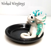 Alhsin - Hand Sculpted Polymer Clay Dice Holder Dragon - Dice Set Included - Wicked Winglings