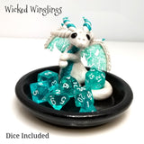 Alhsin - Hand Sculpted Polymer Clay Dice Holder Dragon - Dice Set Included