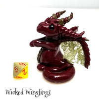 Harlowen - Hand Sculpted Polymer Clay Dice Holder Dragon - Dice Included - Wicked Winglings