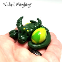 Xamberre - Hand Sculpted Polymer Clay Dragon with Egg