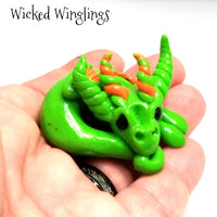 Tiscat - Hand Sculpted Polymer Clay Dragon - Wicked Winglings