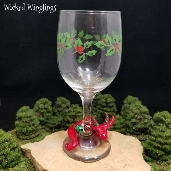 Ansalen - Hand Sculpted Polymer Clay Dragon with Wine Glass - Wicked Winglings