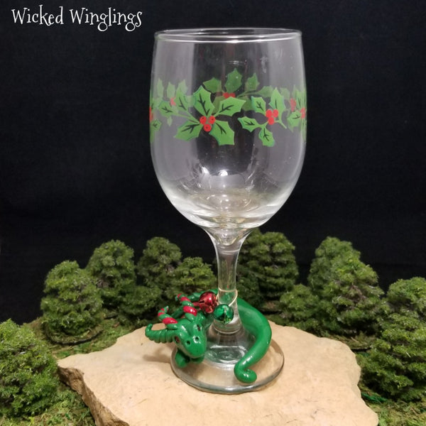 Aranir - Hand Sculpted Polymer Clay Dragon with Wine Glass - Wicked Winglings